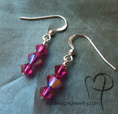 Fuchsia Raspbedrry pink Crystal Earrings
