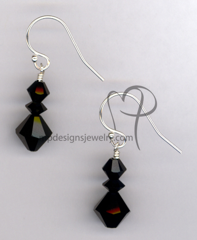Black Jet Swarovski Crystal Short Stack SS Ball Earrings