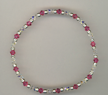 Breast Cancer Awareness ~ Pink Rose Crystal Stretch Bracelet