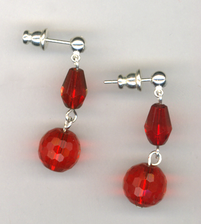 Happy Holidays Red Crystal Post Earrings