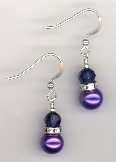 Purple Velvet Swarovski Crystal Pearl Earrings
