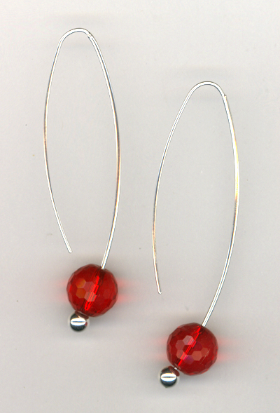 Red Crystal Silver Changable Earrings