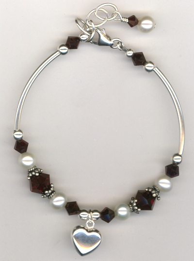 Revel In The Love ~ Garnet Crystal Pearl  Heart Charm Bracelet
