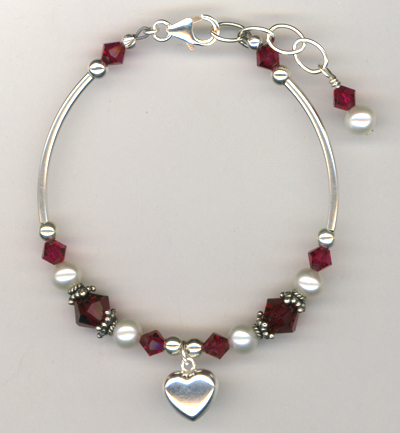 Revel In The Love ~ Ruby Crystal Pearl Charm Bracelet