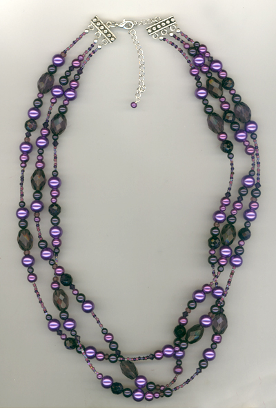 Purple Velvet Triple Strand Crystal Pearl Layered Necklace