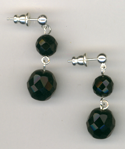 Happy Holidays ~ Black Jet Crystal Post Earrings