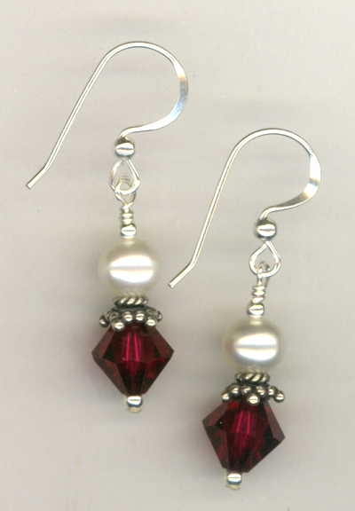 Revel In The Love ~ Ruby Pearl Crystal Earrings