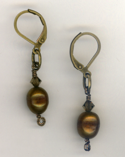 Antique Gold Copper Pearl Crystal Earrings