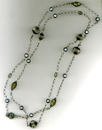 Smokey Jet Crystal Gun Metal Chain Necklace