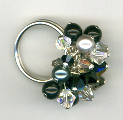 Holiday Sparkle Crystal Beaded Cluster Ring