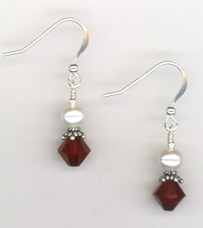 Revel In The Love ~ Siam Red Crystal Pearl Earrings
