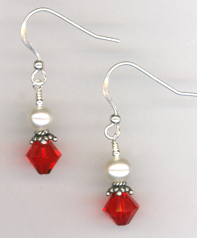 Revel In The Love ~ Light Siam Red Crystal Pearl Earrings