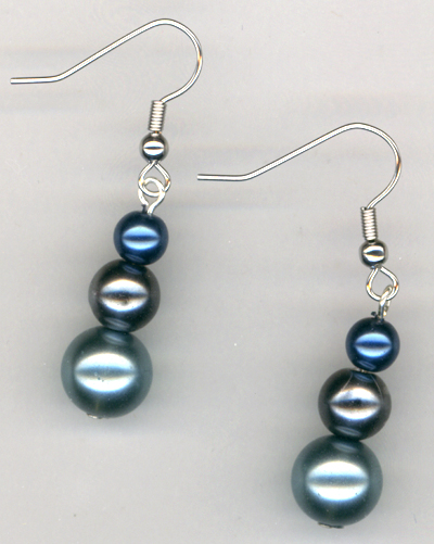 Triple Shades of Blue Pearl Earrings