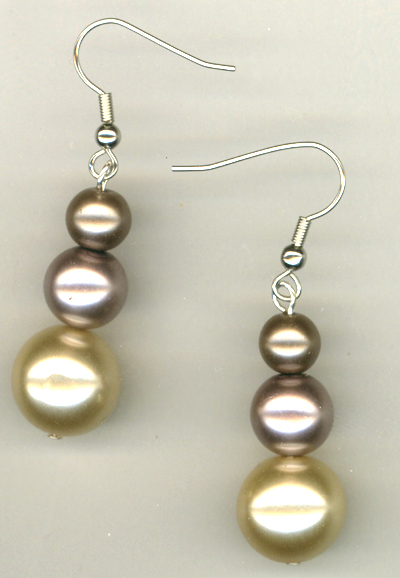Triple Creme 2 Glass Pearl Earrings