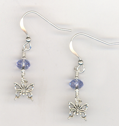 I Want To Fly ~ Lavendar Crystal Butterfly Earrings
