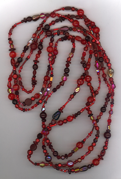 Lady In Red ~ Super Long Beaded Necklace