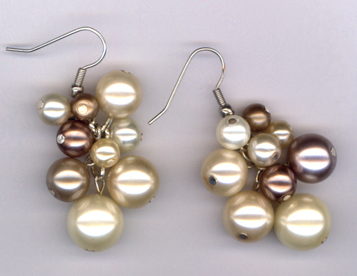 Creamy Pearl Cluster Earrings