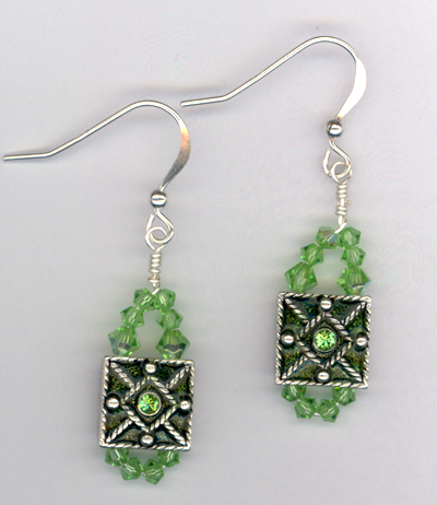 Peridot Swarovksi Crystal Earrings
