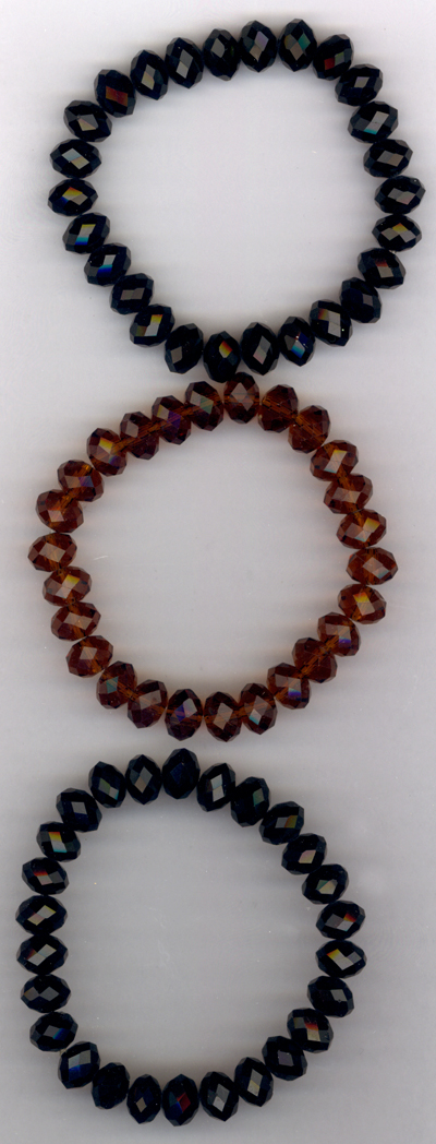 Jet & Amber Crystal Trio Stretch Bracelets