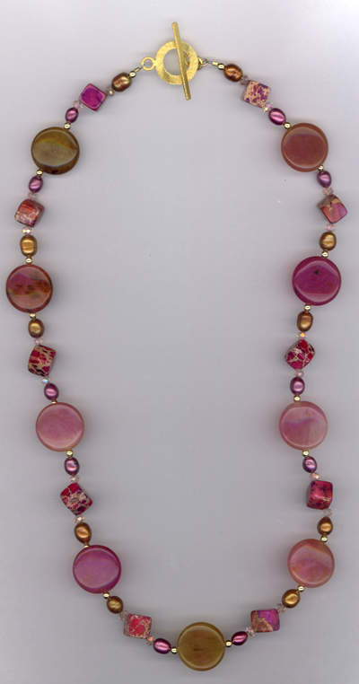 pink pearl gold gemstone necklace