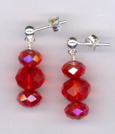 Lady In Red ~ Crystal Beaded Post Earrings