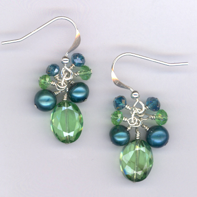 Emerald Isle ~ Turquoise Crystal Pearl Earrings