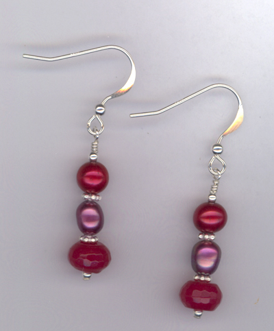 Ruby Slippers ~ Pearl Jade Sterling Earrings