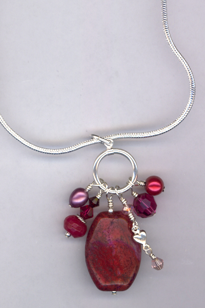 Ruby Slippers ~ Gemstone Pearl Charm Necklace