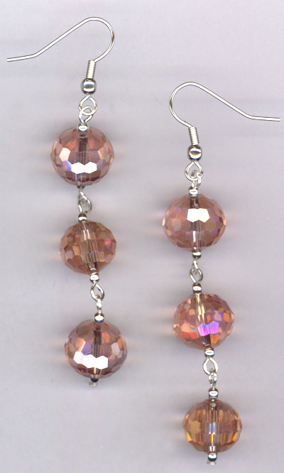 Rainbow Pink Triple Drop Crystal Earrings