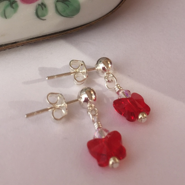Red Swarovski crystal butterfly silver post earrings