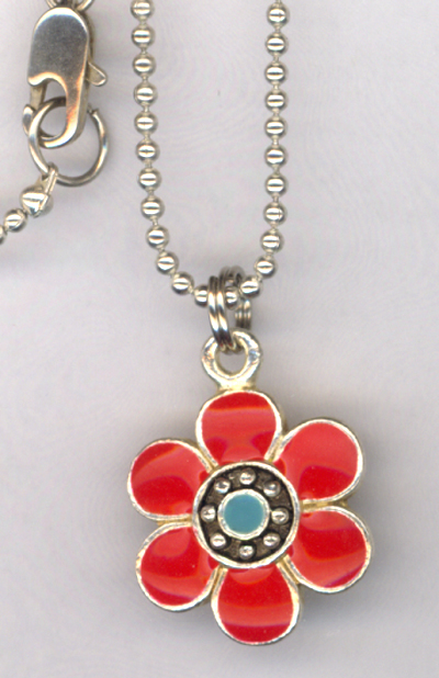 Don't Eat The Daisies ~  Red Flower Charm Necklace