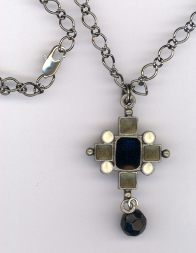Black Enamel Cross Pendant Necklace