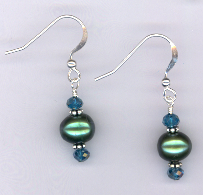 Emerald Isle ~ Crystal Pearl Earrings