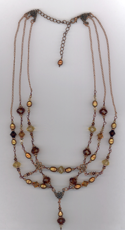 Melody ~ Vintage Copper Crystal Layered Necklace