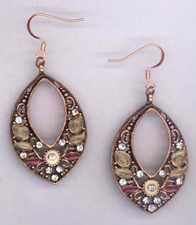Melody Pink Flora ~ Copper Filagree Earrings