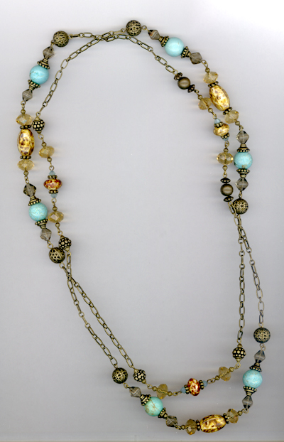 Desert Rain ~ Turquoise Blue Antiqued Gold Crystal Necklace