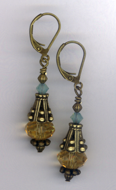 Desert Rain ~ Turquoise Blue Antiqued Gold Crystal Earrings