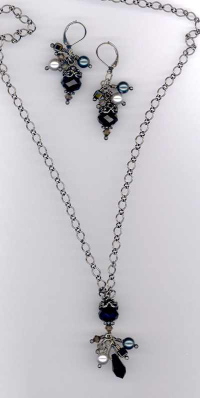 Black Crystal Cluster Necklace/Earring Set