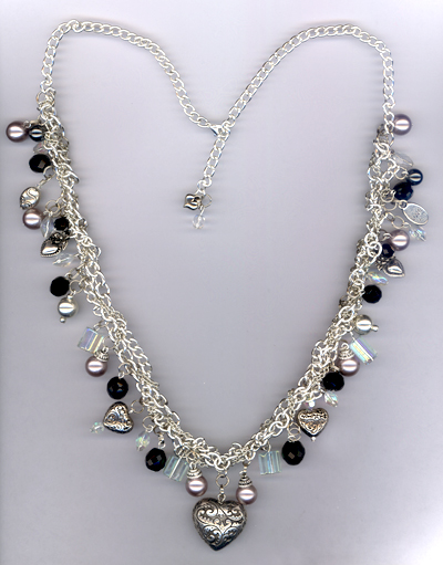 My Heart Beats For You ~ Silver Black Gray Pearl Charm Necklace