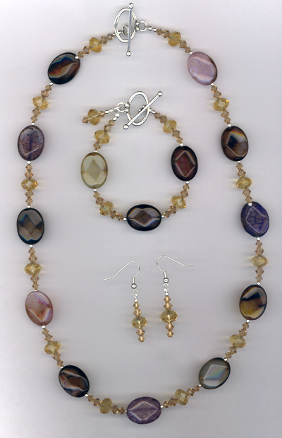 To Die For ~ Agate Multi-Colored Gemstone Crystal Jewelry Set