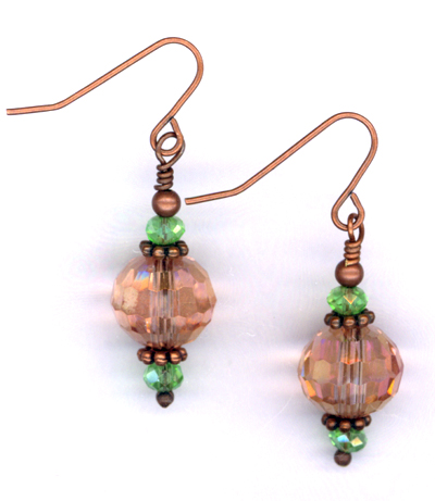 Opera Night ~ Copper Pink Green Crystal Earrings