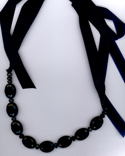 Jet Crystal Agate Beaded Ribbon Necklace
