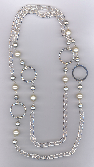 Silver  & Pearl Links ~ Necklace
