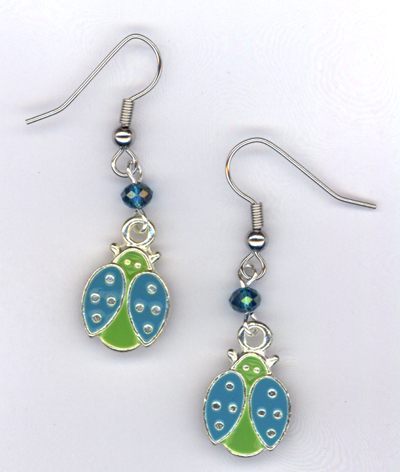 Lady Bug, Lady Bug ~ Green/Blue Crystal Charm Earrings