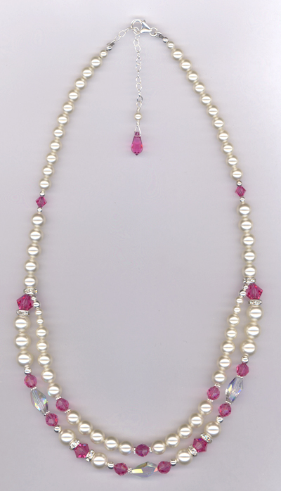 Custom Bridal Swarovski Crystal Pearl Necklace