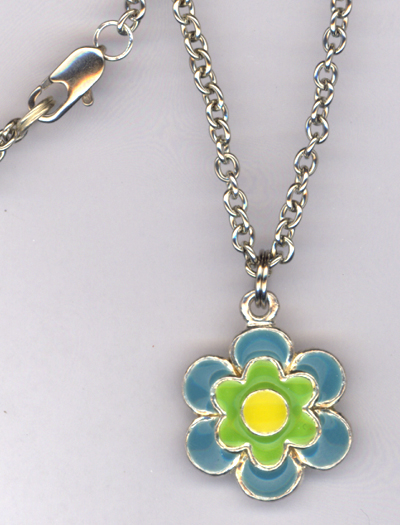 Don't Eat The Daisies ~ Blue/green/Yellow Charm Necklace