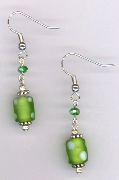 Whimsy Girl Green ~ Polka Dot Earrings