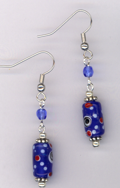 Whimsy Girl Sapphire Blue ~ Chunky Beaded Earrings