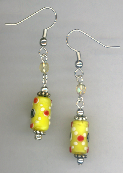 Whimsy Girl Yellow ~ Chunky Beaded Earrings