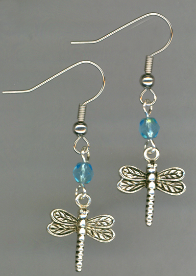 Whimsy Girl Aqua Blue ~ Dragonfly Charm Beaded Earrings